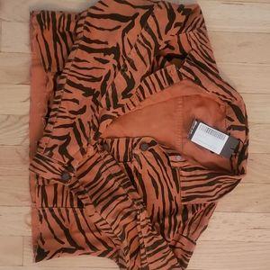 Nasty Gal cropped tiger print jacket